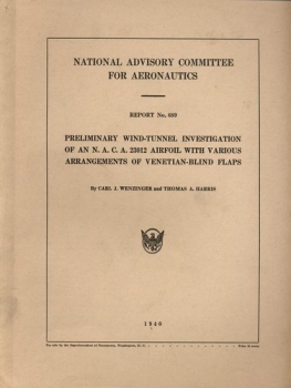 NACA Report No. 689: Preliminary Wind-Tunnel Investigation of an N.A.C.A. 23012 Airfoil with Various Arrangements of Venetian-Blind Flaps