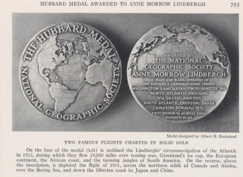 National Geographic 1934 - 6: Hubbard Medal Awarded to Anne Morrow Lindbergh