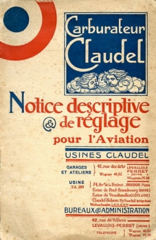 Carburateur Claudel: Notice Descriptive & de Réglage pour l'Aviation