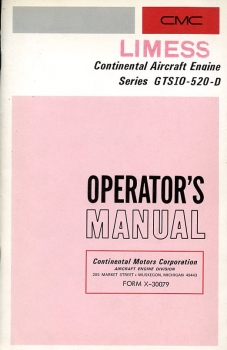 Continental Aircraft Engine Series GTSIO-520-D: Operator's Manual