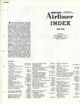 Boeing Airliner - Index 1958 - 1968