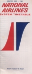 National Airlines - System Timetable 1965: Cost to Cost to Cost