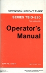 Continental Aircraft Engine Series GTSIO-520: Operator's Manual